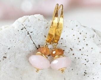 Rose Quartz Earrings - Pink Gemstone Earrings - November / January Birthstone - Drop Earrings Handmade - Imperial Topaz Earrings