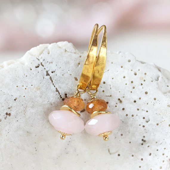 Rose Quartz Earrings - Imperial Topaz Earrings