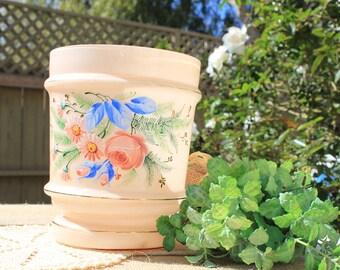 Hand painted pink floral vase flower vase hand painted flowers