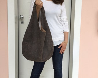 Hobo leather bag/ Distressed leather bag/ Shoulder leather bag/ Brown hobo bag