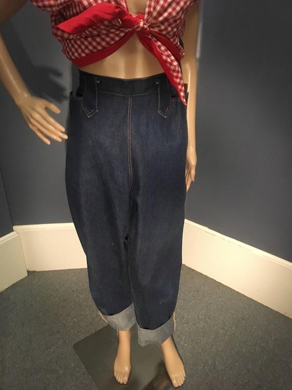 Vintage 1950s Reproduction Buckle Back Blue Jeans XL 32 Inch Waist
