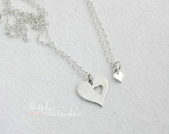 Mother Daughter Set Necklace Set - A Piece of my Heart - Sterling Silver Necklace Set - Gift for Mom - Mom Daughter Jewelry