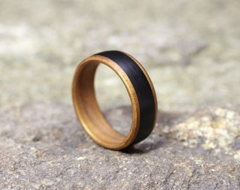 Ancient Kauri featuring wide Grenadilla inlay - Bentwood Ring - And We Plant A Tree:)