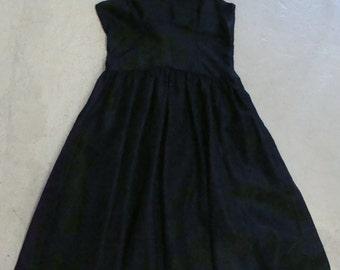 BLACK TAFFETA party DRESS vintage 1950's 50's xs