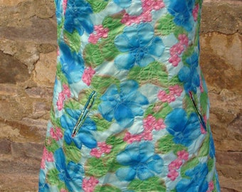 TEXTURED FLORAL DRESS 1960's 1970's shift M