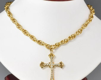 "1960's  Large Gold Tone Cross Pendant or Necklace with Rhinestones on 21"" Rope Chain - Vintage Religious Jewelry Large Cross - Catholic Gift"