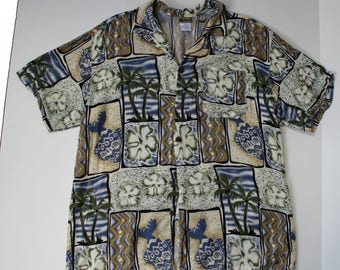 Vintage Hawaiian Shirt -Button up holiday Collar Shirt - Floral - Blue -Large  Unisex -Loose Fit-beach 44 - pocket