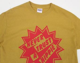 "Never Trust A Hippie - Punk T-shirt - Hippy Star - Seditionaries Westwood - Mustard - Sm 36"" - XL 42""-Bright Yellow M38""-"