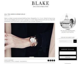 "Wordpress Theme Responsive Blog Design ""Blake"" - Minimalist and black"