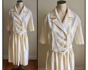 Vintage 1950s 60s Misses' Westbury Fashions Yellow White Stripe Dress 8 10