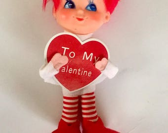 Vintage Mid-Century 1960s Valentine's Day Pixie Doll Ornament Made in Japan