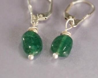 Dangle Drop Earrings, Small Drop, Dark Green, Emerald Green, Greenery, Lever Back Earring, Gemstone Jewelry, Sterling Silver