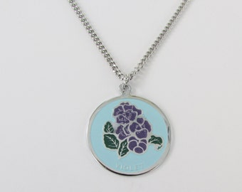 Delicate Violets Enamel Pendant w/ Necklace - Vintage 1960s Mothers Day Jewelry - February Birthday Flower