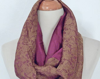 Metallic GOLD Scarf 1990s Burgundy Red Infinity Loop Design Silky Dressy