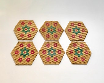 Vintage set of 6 Bamboo Drink Coasters, Hexagonal Star Design, Red Green Natural, Ships Free