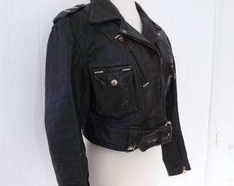 50's Women's Harley Davidson Cycle Queen Leather Motorcycle Jacket Cropped Studded Belted Black Genuine Steerhide Coat L