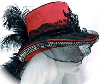 Victorian Gothic Hat Red & Black Steampunk Riding Hats GO-105