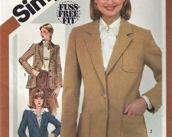 Vuntage 1981 Simplicity  BLAZER Pattern #5202 Misses Sz 10 Jacket Fuss-Free Fit  Uncut Factory Folded Uncut Factory Folded