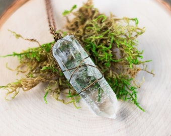 """Large Wire Wrapped Clear Quartz Point on a 28"""" Antiqued Copper Colored Chain"""