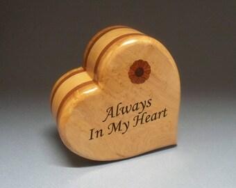 Wooden Heart Urn - Mahogany & Maple  Cremation Urn, Cremation Urn, Unique Urn, Small Urn, Wood Urn, Heart Urn, Wooden Urn