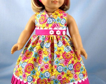 "Doll Dress 18 Inch - Fits American Girl Dolls - Floral Sundress and Headband - Doll Clothing - 18"" Doll Clothes"