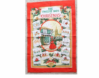 Cotton tea towel. The twelve days of Christmas