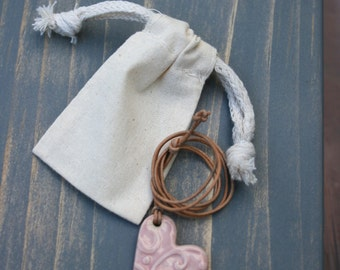 heart pendant, ceramic jewelry, heart necklace, pink heart, pottery pendant, love heart, gift idea, porcelain pendant, boho jewelry, leather