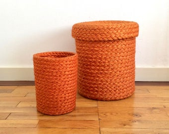 Vintage orange woven hemp rope boho trash can/wastepaper basket/pot basket and lidded storage basket/hamper. Set of two.