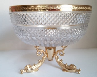 Glass and Gold Tone Dolphin Footed Bowl