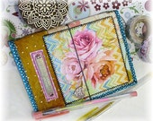 OOAK Passport or Field Notes Fauxdori, Shabby Chic Fauxdori, Roses Notebook Cover