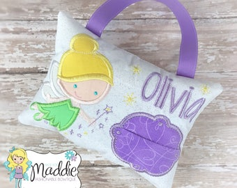 Girls Tooth Fairy Pillow, Embroidered, Personalized, Princess Tooth Fairy Pillow, Keepsake Tooth Pillow, Tooth Fairy Pillow Girl, Birthday