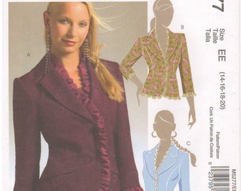 2006 - McCalls 5277 Sewing Pattern Sizes 14/16/18/20 Blazer Jacket Lined Fitted Princess Seams Ruffles 3/4 Sleeves Long Sleeve Uncut