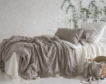 Flax Bed Linen... Linen Duvet Cover Twin Full Queen King Grey Stonewashed Eco friendly - Custom size