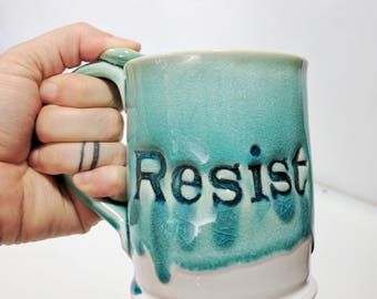 Resist Mug, Blue, Coffee Mug, 14oz, Ready to Ship