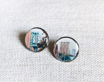 NYC Bridges earrings /Brooklyn Bridge /Manhattan Bridge /post earrings /stud earrings /photo jewelry