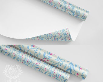 Wrapping Paper Roll Tangled Pale Blue Pink Floral Botanical/ Quality Satin Eco Friendly Printed Paper/ Made to Order/ Ships from USA Free