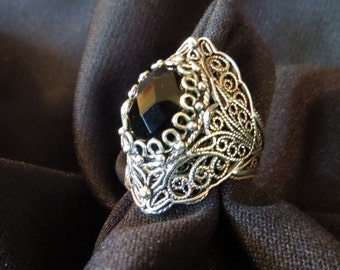 Stunning Vintage Chunky Heavy Sterling Silver Ornate Filigree Black Faceted Onyx Or hematite Statement Turkish Ring