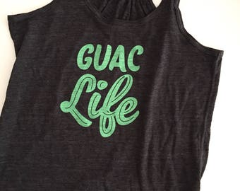 Guac Life // Avocado // Guacamole // RACERBACK TANK // Flowy Womens Fit // Charcoal // Screen Printed // Tank :APglTTch