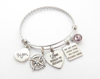 Love knows no distance Compass Charm Mother Daughter Long Distance Bracelet, Long distance friendship bangle, Going away gift, Grandma, Mom