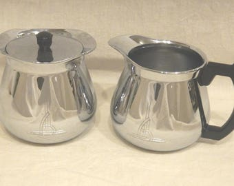 Sunbeam Cream Creamer & Covered Sugar Bowl Atomic Deco Design Chrome-Bakelite