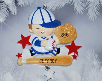 Personalized Baby Boy Little Slugger Baseball Christmas Ornament