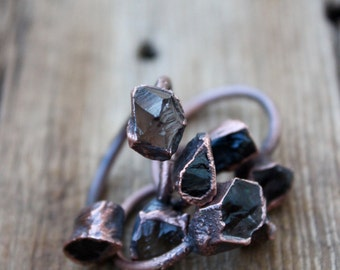 Smoky and Black Tourmaline Ring • Raw Stone • Electroformed • Copper Ring • Bohemian • Nature Inspired