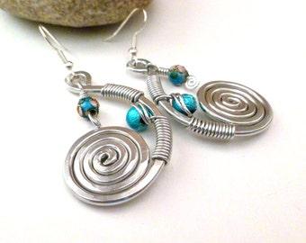 Aqua Earrings Wire Wrapped Jewelry Handmade Wire Wrapped Earrings Cloisonne Earrings Cloisonne Beads Silver Wire Earrings Aluminum Earrings