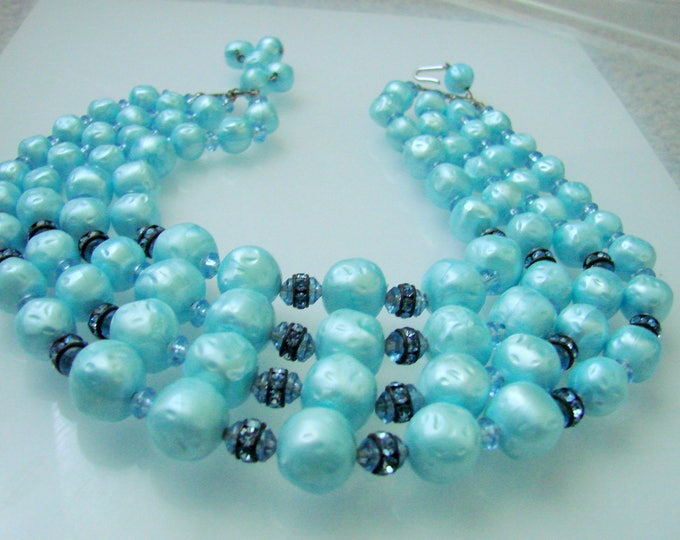 Vintage Aqua Faux Baroque Pearl Bead Bib Necklace / Light Blue Rhinestone Rondeles / Multi Strand / 1960s Jewelry / Jewellery