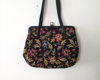 Tapestry bag | 1960s petit point hand bag | 60s vintage cross stitch bag