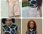 MADE TO ORDER --- Shorts, Culottes, Cropped or Full Wide Leg Pants in Baby Pink for Barbie Made to Move or similar-sized fashion dolls