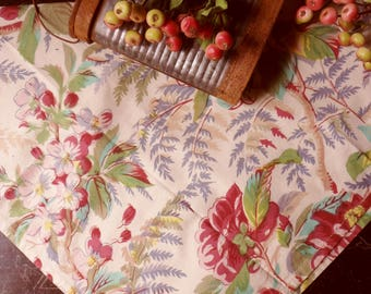Multi Colored Floral Linen Towel with Red Hibiscus, 40's Reproduction Print
