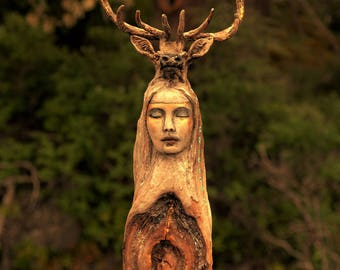 Reserved for Susan, July 3 of 3, Forest Spirit Woman with Elk, Deer Totem, By ShapingSpirit