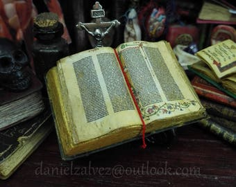 GUTEMBERG BIBLE Open book Miniature for dollhouses 1:12 scale by D. Zalvez
