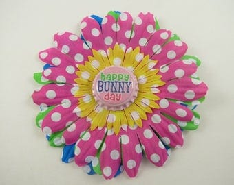 Bright Easter Flower Hair Clip - Polka Dot Flower Hair Bow - Hot Pink Yellow Green Blue - Bottlecap - Happy Bunny